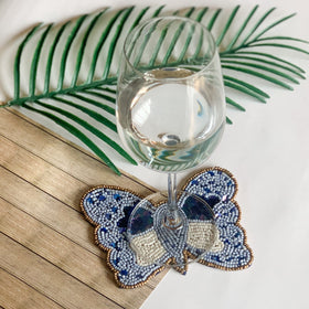BEADS Butterfly Coasters (Set of 2) - Blue