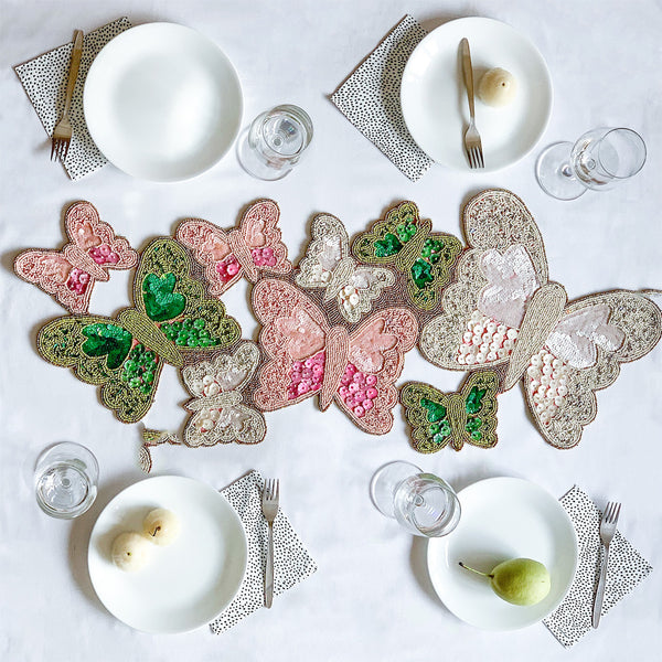 BEADS Butterfly Runner - Pink, Green White
