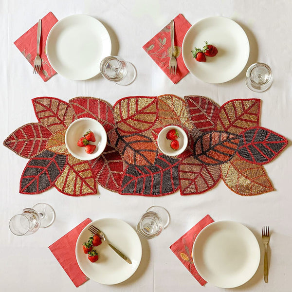 BEADS Leaf Runner - Red