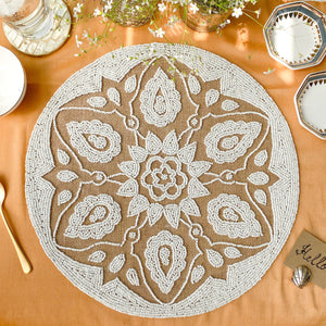 BEADS Mandala Jute Table Mat- White