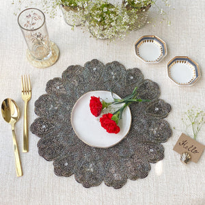 BEADS Pattern Table Mat - Silver