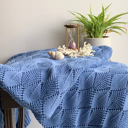 Horizon Knitted Cable Throw Blanket - Blue
