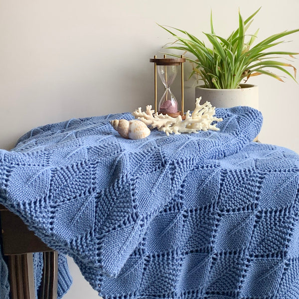 Horizon Knitted Cable Throw Blanket -  100% Cotton - Blue