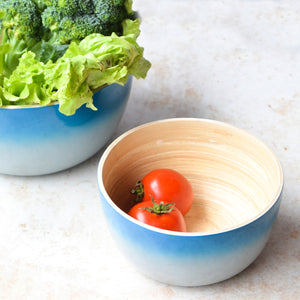 Round Ombre Bamboo Bowl-Blue & Grey (Set Of 2)