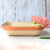 Bamboo Square Round Edge Tray Basket With Copper Rim