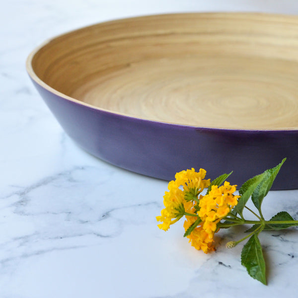 Round Bamboo Tray- Purple
