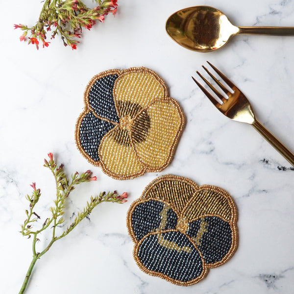 BEADS Pansy Coaster - Blue & Gold (Set of 2)