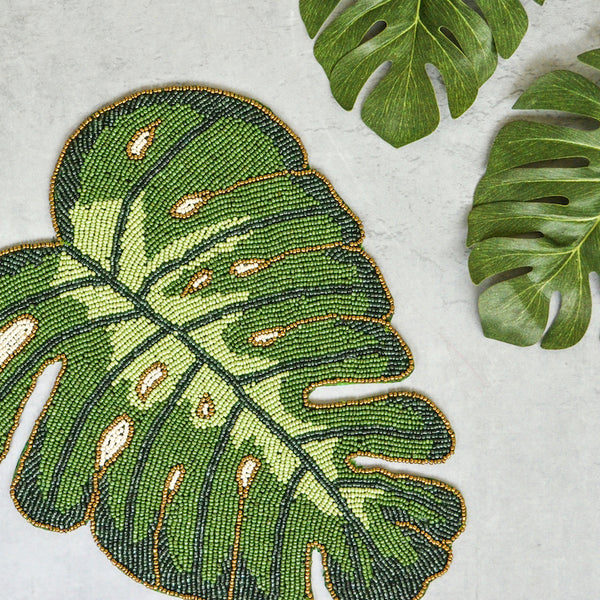 Beads Monstera Leaf Mat