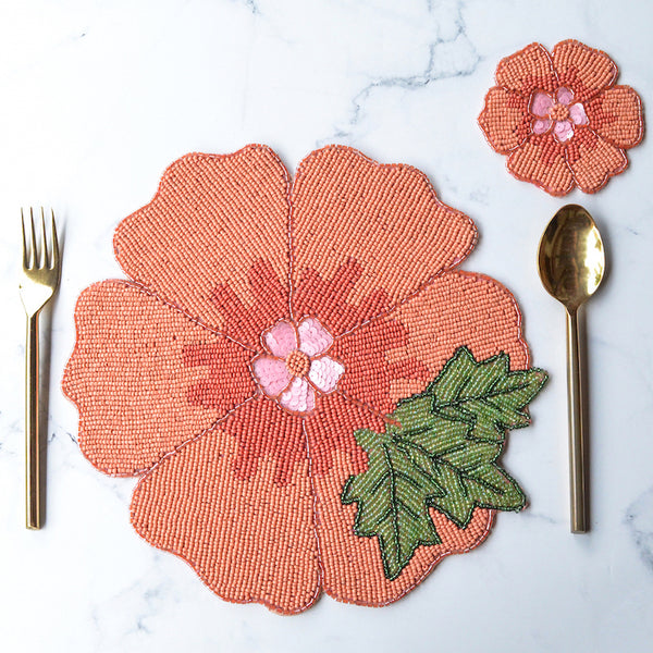 BEADS Flower Coaster and Mat - Orange (Set of 2)