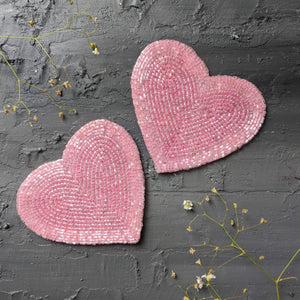BEADS Heart Coaster - Pink (Set of 2)