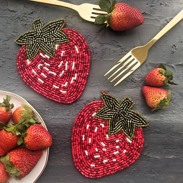 strawberry coaster set of 2