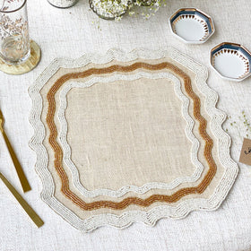 BEADS Baroque Square Table Mat - White & Gold