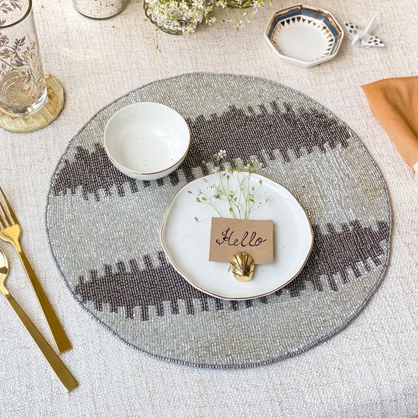 BEADS Stripes Table Mat - Silver
