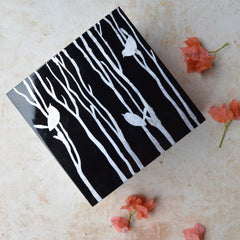 LACQUER box with bird design - black and white