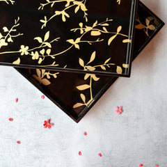 Black & Gold Bird Rectangle Lacquer Tray (Set Of 2)