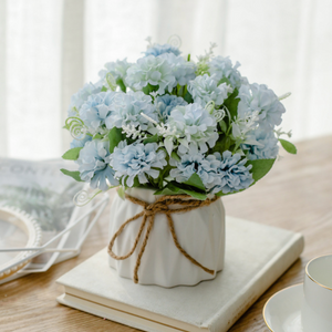 Blue Artificial Flowers in Vase