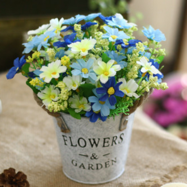 Blue Flowers in Basket