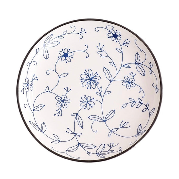 White and Blue Floral Plate
