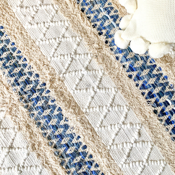BOHO Ivy Hand Woven Rug - White and Blue