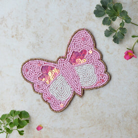BEADS Butterfly Coaster - Pink (Set of 2)