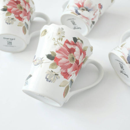 mug set of 4 with red floral print