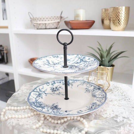 Two tier cake stand with blue bird motif