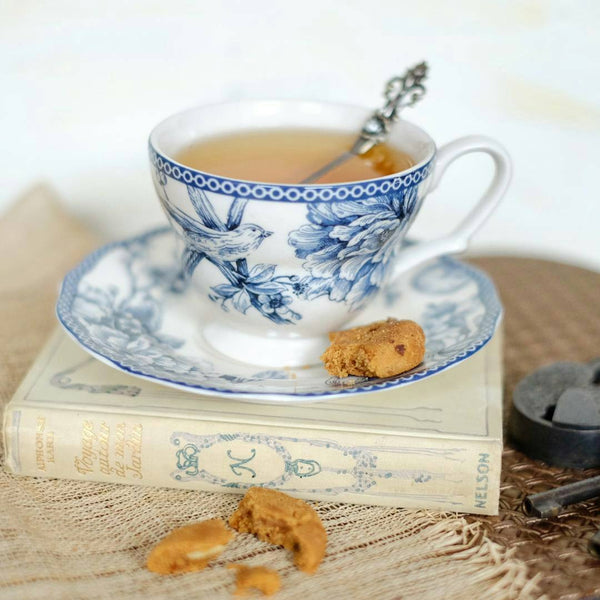 cup and saucer set of 6 with blue bird print