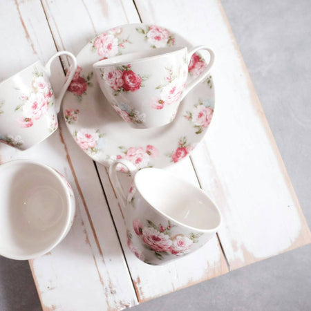 cup and saucer set of 6 with grey base and rose print