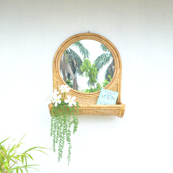 Cane Mirror with Shelf