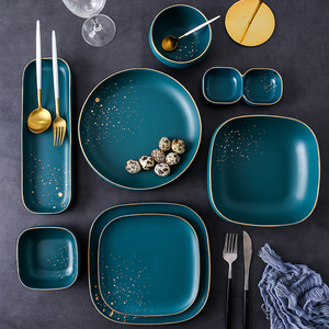 Cara Square Serving Bowl - Midnight Green