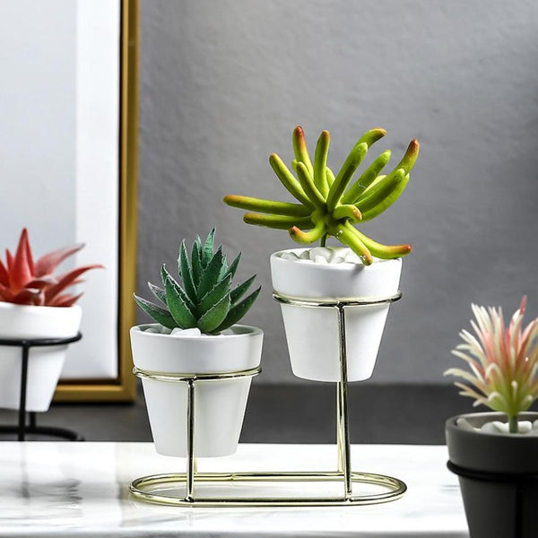 Gold White Planter Set