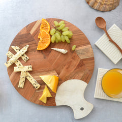 TROPICAL Triton Herringbone Wooden & Marble Cheese Board Platter - White Brown