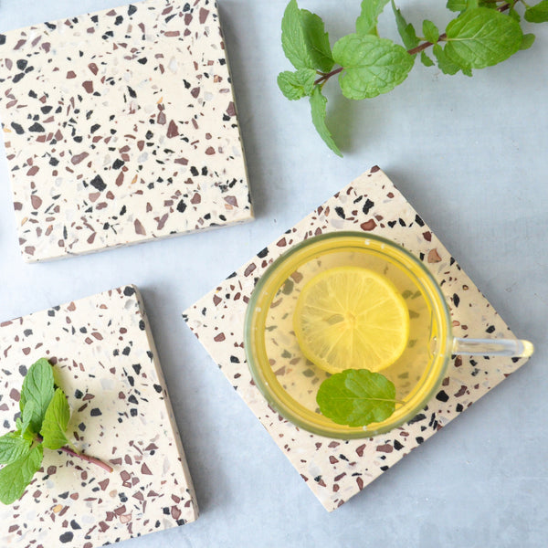 Sia Terrazzo Coaster set of 4 with lemon tea