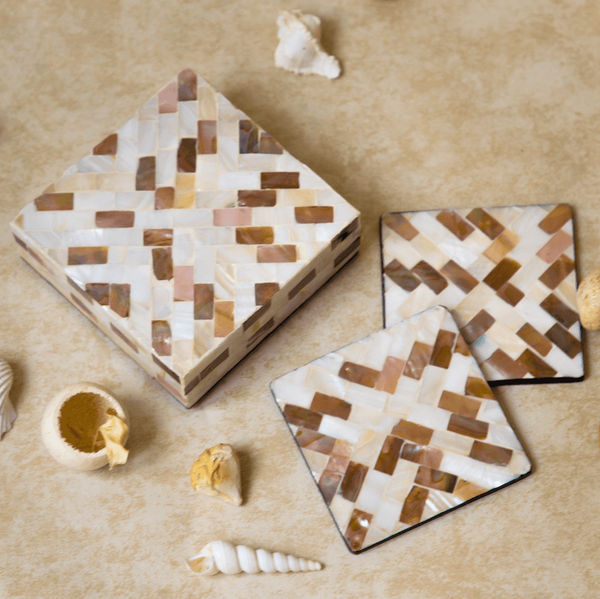 top view of coasters and box of mother of pearl diagonal pattern