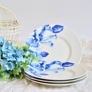 Salad plate set of 4 with blue floral print