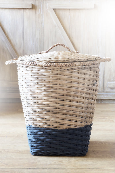 MOD Laundry Storage Basket with Lid - Natural & Black - Nestasia Home Decor