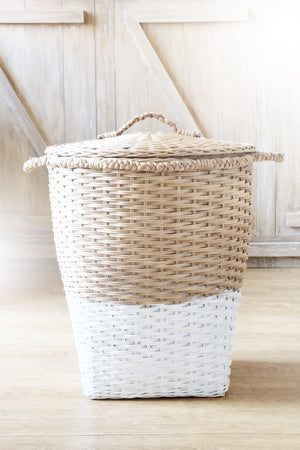 MOD Laundry Storage Basket with Lid - Natural & White