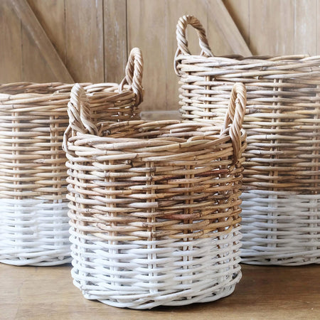 MOD Round Basket- Set of 3- Natural & White