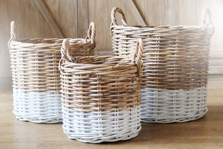 MOD Round Storage Basket - Set of 3 - Natural & White
