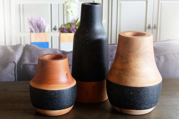 STARRY Wooden Vase - Set of 3 - Black & Natural Wood - Nestasia Home Decor