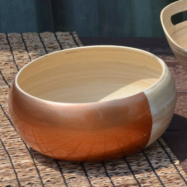 Bamboo Round Fruit / Serving Bowl-Copper Half N Half