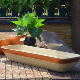 Bamboo Rectangular Bread Tray Basket With Copper Rim