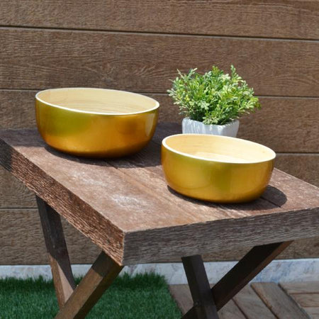 Round Bamboo Bowls-Metallic Gold (Set Of 2)