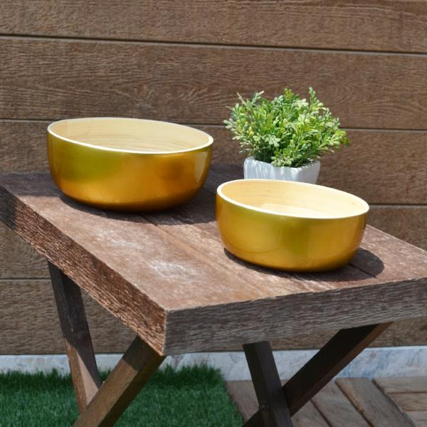 Round Bamboo Bowls-Metallic Gold (Set Of 2) - Nestasia Home Decor