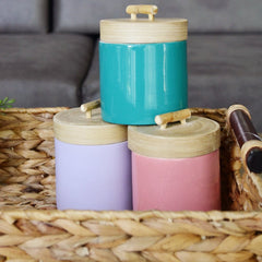 Bamboo Jar With Turquoise Base & Natural Bamboo Lid - Nestasia Home Decor