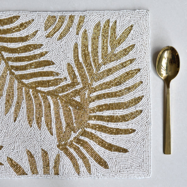 Beads White and Gold Rectangle Table Mat