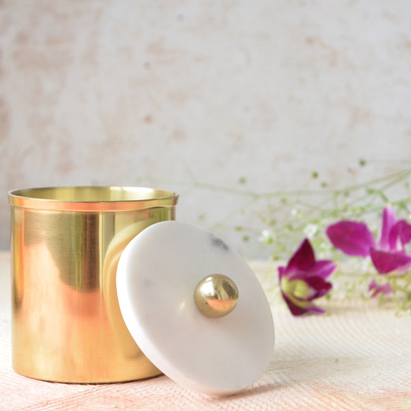 Gold Candle Jar with Marble Lid