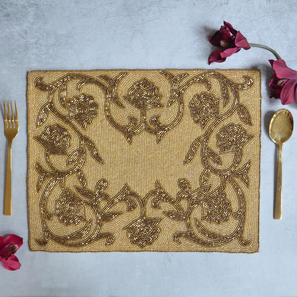 Beads Gold Rectangle Table Mat