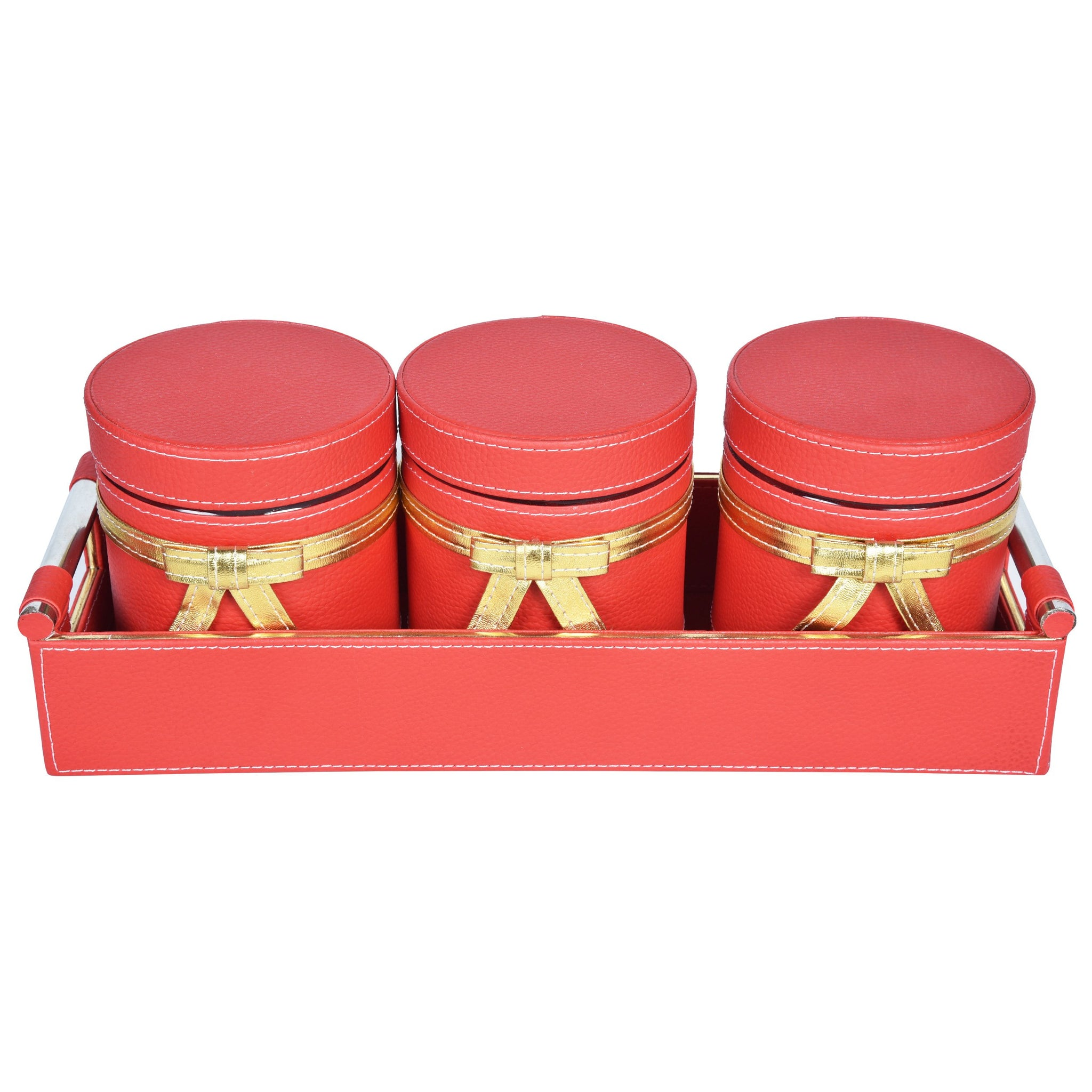 Nestasia Jar & Tray set of 3 - Rectangle tray with handle - Red Gold Combination - For Gifts Home Office - Three PU Leatherite covered glass canister with bow