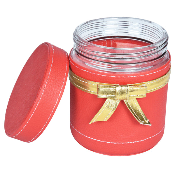 Jar & Tray set of 3 - Red Gold PU Leatherite